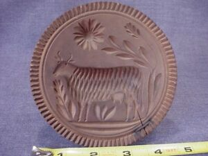 Great Antique 1800s Carved Cow Butter Mold Stamp Americana Folk Art 4 3 4 Diam