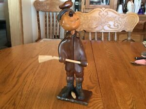 Vintage Wooden Hand Carved Duck Hunting Man Italian Made