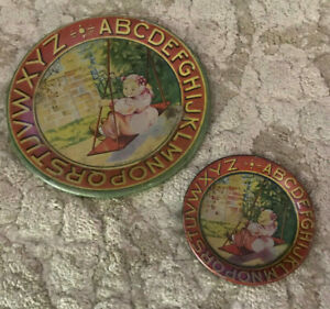 Antique Abc Lithographed Painted Tin Plates Girl On A Swing Bryan O U S A