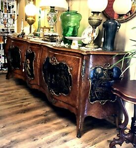 Antique French Asian Sideboard Server Or Buffet 9