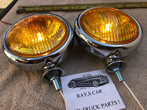 New Set Pair Of Small Amber Vintage Style Fog Lights In 12 Volts