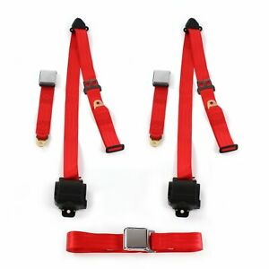 Ford 1928 1931 Model A Airplane 3pt Red Retractable Bench Seat Belt Kit 3
