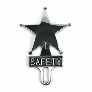 Retro Vintage Safety Star Chromed License Plate Topper
