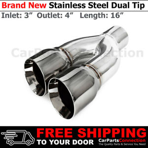 Universal Dual Exhaust Tip Chrome Staggered 16 Inch Weld on 3 In 4 Out 259115