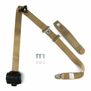 Universal 3 Point Retractable Auto Car Seat Belt Lap Shoulder Adjustable Tan