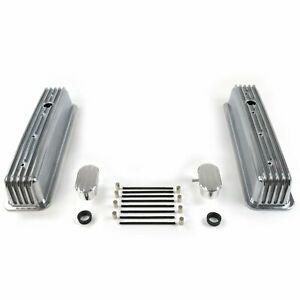 Vintage Center Bolt Finned Valve Covers W Breathers pcv small Block Chevy