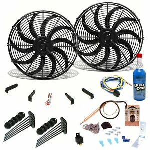 Two 10 S Curved Blade Fans Adjust Temp Switch Harness Bracket Cooling Kit