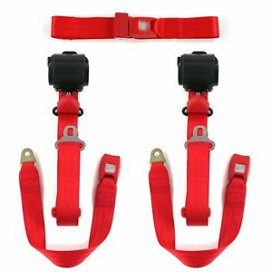 Ford Mustang 1971 1973 Standard 3pt Red Retractable Bench Seat Belt Kit 3 Be