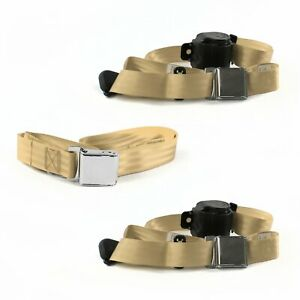 Ford Mustang 1979 1993v Airplane 3pt Tan Retractable Bench Seat Belt Kit 3