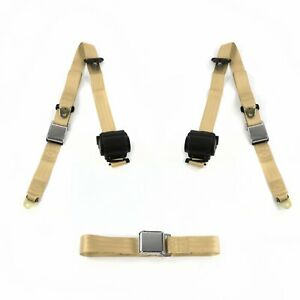 Jeep Willys 1944 1952 Airplane 3pt Tan Retractable Bench Seat Belt Kit 3 Be