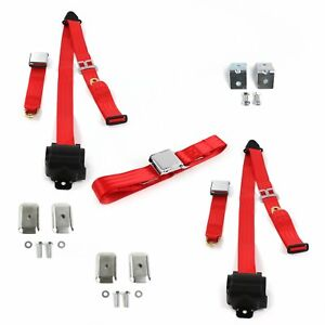Ford 1928 1931 Model A Airplane 3pt Red Bench Seat Kit W Brackets 3 Belts