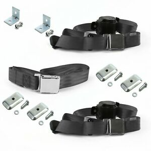 Ford Mustang 1979 1993v Airplane 3pt Ch Bench Seat Kit W brackets 3 Belts
