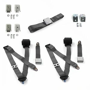 Ford Mustang 1971 1973 Airplane 3pt Ch Bench Seat Kit W brackets 3 Belts