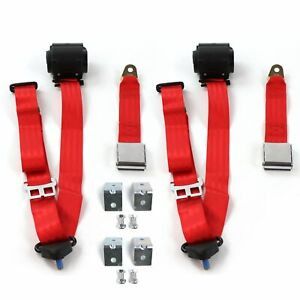 Ford Mustang 1971 1973 Airplane 3pt Red Seat Kit W brackets 2 Belts