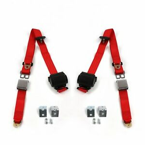 Ford Truck 1953 1956 Airplane 3pt Red Seat Kit W Brackets 2 Belts