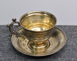 1860 Imperial Russian 84 Silver Tea Cup Saucer Gold Wash 2