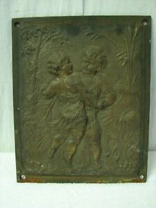 Antique Cast Iron Ornate Victorian Fireplace Insert Summer Cover Boy Girl Relief