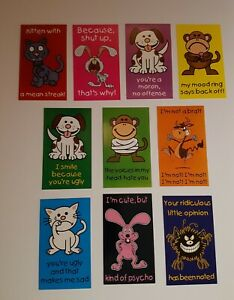Vending Machine Critter Crackups Decals Never Used Set Of 10