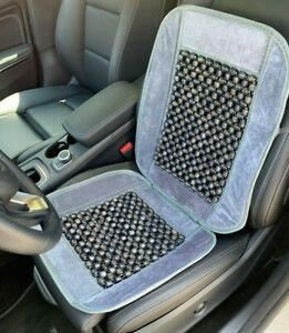 One Gray Natural Wooden Beads Velvet Car Comfort Massage Seat Cover Cushion 1900
