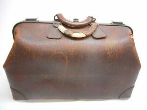 Antique Brown Leater Doctors Bag Compartment Medical Suitcase Top Grain Cowhide