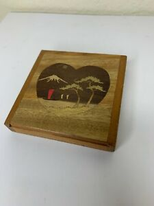 Vintage Wooden Inlay Japanese Wood Tiles Puzzle Box Mt Fuji