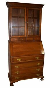 Vintage Pennsylvania House Solid Cherry Two Piece Colonial Style Secretary Desk