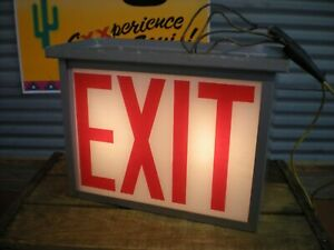 Vintage Metal Painted Glass exit Boxed Sign Lighted Industrial