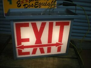 Vintage Metal Painted Glass exit Left Or Right Boxed Sign Lighted Industrial