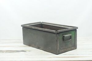Vintage Industrial Metal Storage Bin Box Tote Drawer Industrial Decor Storage