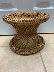 Mid Century Vintage Cane Wicker Bamboo Woven Footstool Plant Stand