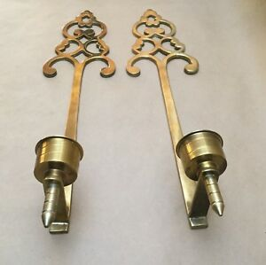 Vintage Pair Of 21 Solid Brass Candle Holder Wall Sconces Home Decoration