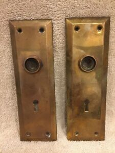 Antique Pair Stamped Brass Plain Victorian Doorknob Back Plates Escutcheons