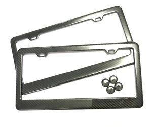 Real100 Carbon Fiber 2 License Plate Frame Tag Cover Original 3k With Free Caps