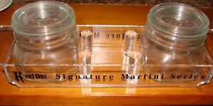 Kettle One Martini Condiments Acrylic Holder W 2 Glass Containers Jars Dispenser