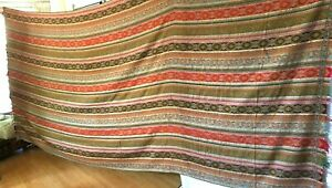 Antique Paisley Shawl Woven Wool Striped Mid 19th Century 125 X 60