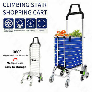 Folding Stair Wheeled Shopping Basket Cart Trolley For Laundry Grocery Travel Us