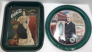 Vintage Coca Cola Set Of 2 Commemorative Trays 75th & 85th Anniversary Numbered