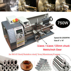 Upgrade 750w Mini Metal Lathe Bench Top Metric Inch Stainless Steel Processing