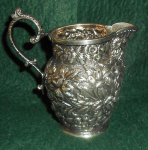 Antique Small Sterling Cream Pitcher C 1890s Baltimore Repousse W Mask Spout
