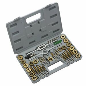 40 Piece Fractional Tap And Die Set Premium Sae Titanium Coated a1 a0005