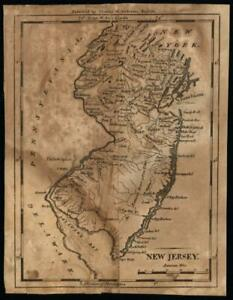 New Jersey 1797 Scarce State Map Hill Engraved Wheat Brun 417