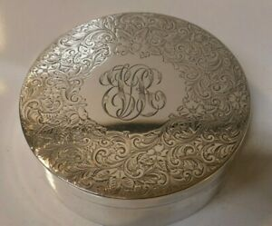 Gorgeous Shreve Crump Low Co Sterling Silver Ornate Round Box