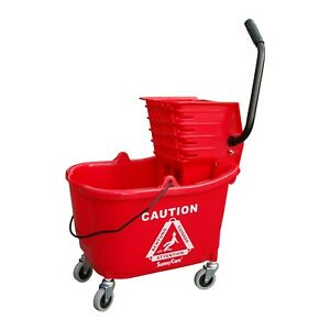 Sunnycare 35qt Mop Bucket With Wringer Side Press plastic red new