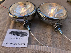 New Pair Of Small 6 Volt Clear Color Vintage Style Driving Lights