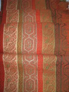 Antique Paisley Shawl Attractive Stripe Design Table Sofa Bedcover Wool Fabric