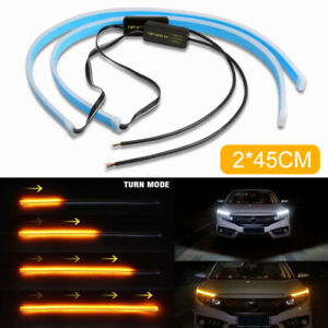 2pc 45cm Waterproof Flexible Universal Led Drl Daytime Running Light Turn Signal