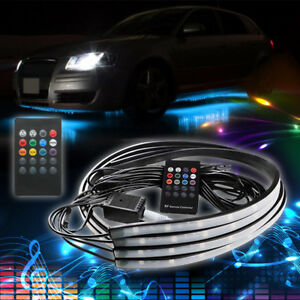 36 48 Led Light Strips Truck Car Underbody Under Glow Neon Tube Rgb System