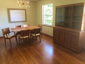 Heywood Wakefield Dining Table 6 Chairs 1 Arm 5 Side And China Cabinet