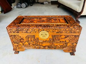 Beautiful Chinese Japanese Solid Carved Wooden Chest Trunk Box L K