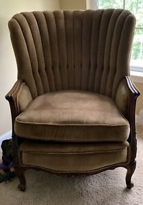 Vintage 1940 S High Channel Back Chair Framed In Mahogany Wood Detail